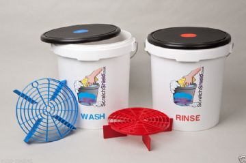 Scratch Shield Grit Guard Buckets, Red & Blue Guards & Lid Seats